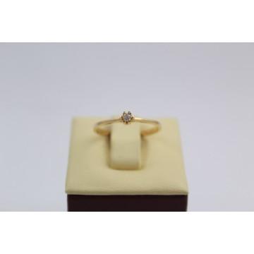 Дамски златен годежен пръстен жълто злато бял камък 2608