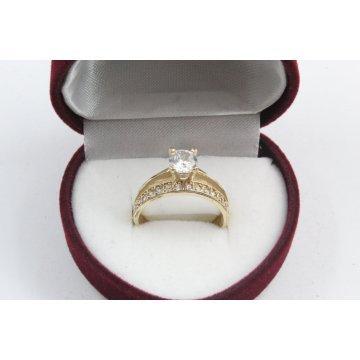Дамски златен годежен пръстен жълто злато бели камъни 2612