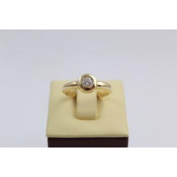 Дамски златен пръстен жълто злато бял камък 2614