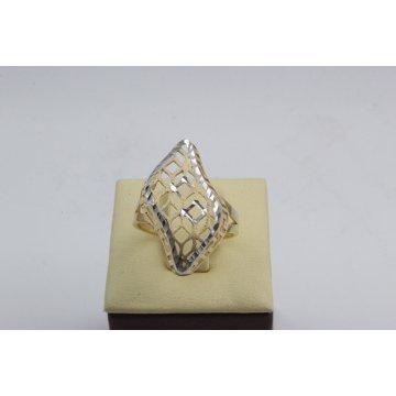 Дамски златен пръстен жълто и бяло злато 2614