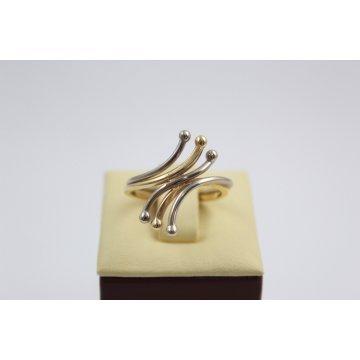 Дамски златен пръстен бяло жълто злато 2616