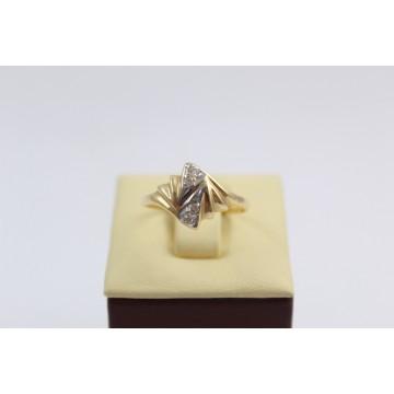 Дамски златен пръстен жълто бяло злато бели циркони 2619