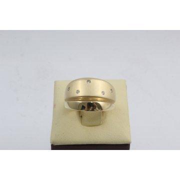 Дамски златен пръстен жълто злато бели циркони 2619