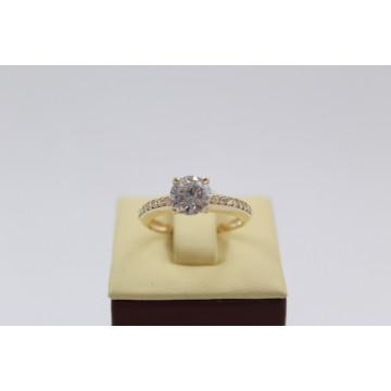 Дамски златен годежен пръстен жълто злато бели циркони 2621