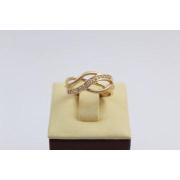 Дамски златен пръстен жълто злато бели камъни 2630
