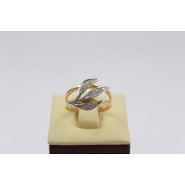 Дамски златен пръстен бяло жълто злато и бели камъни 2631