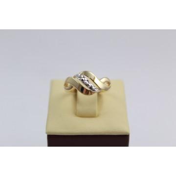 Дамски златен пръстен жълто и бяло злато 2632