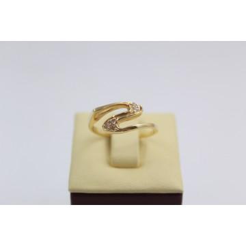 Дамски златен пръстен жълто злато бели камъни 2634