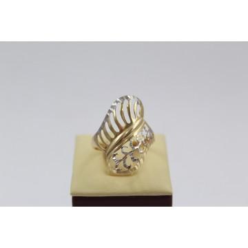 Дамски златен пръстен бяло жълто злато 2636