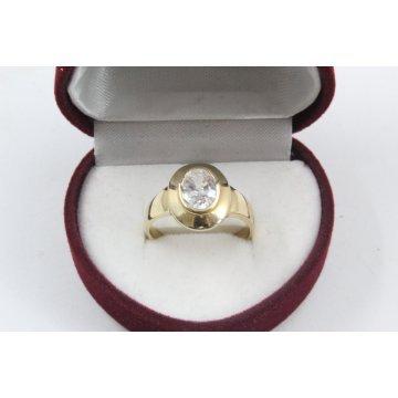 Дамски златен годежен пръстен жълто злато бял централен камък 2640