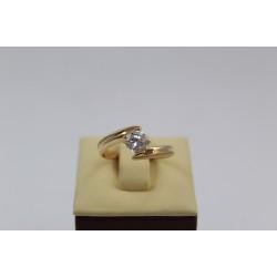 Златен годежен пръстен с бял циркон жълто злато 2642