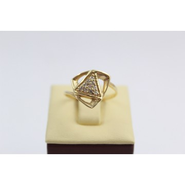 Дамски златен пръстен жълто злато бели камъни 2650