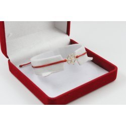 Златна регулираща се гривна с червен конец и златна четирилистна детелина 2712