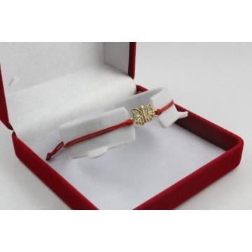 Златна регулираща се гривна с червен конец и златна пеперуда 2717