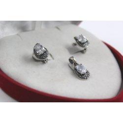 Дамски сребърен комплект Медичи обеци медальон тъмно сребро 2723