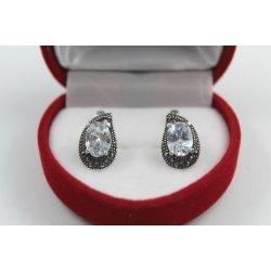 Дамски сребърни обеци Медичи тъмно сребро 3637