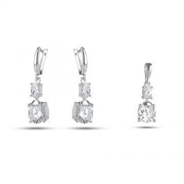 Дамски сребърен комплект обеци медальон бели камъни 2723