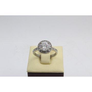 Стоманен дамски пръстен с бели камъни 2731