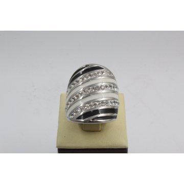 Дамски стоманен пръстен бяла стомана и бели камъни 2735