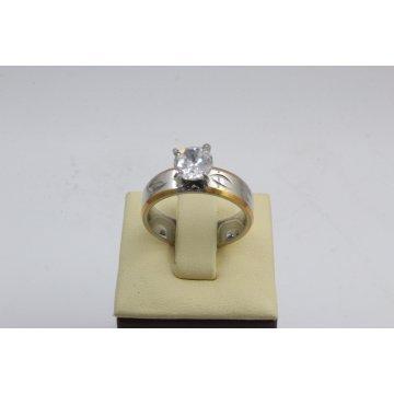 Дамски стоманен пръстен бял камък 2744
