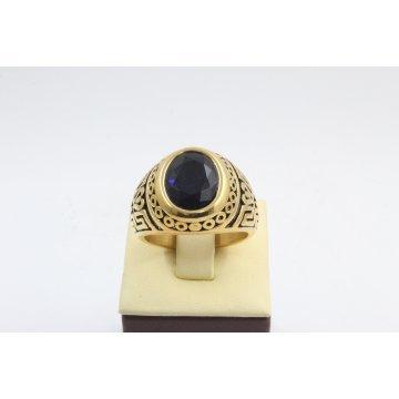 Стоманен пръстен жълта стомана черен камък 2746