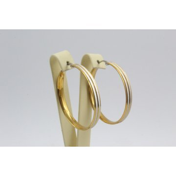 Дамски стоманени обеци халки бяла жълта стомана 2770