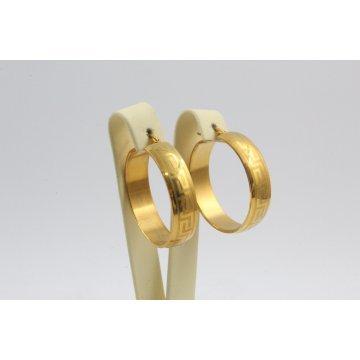 Дамски стоманени обеци халки жълта стомана 2772