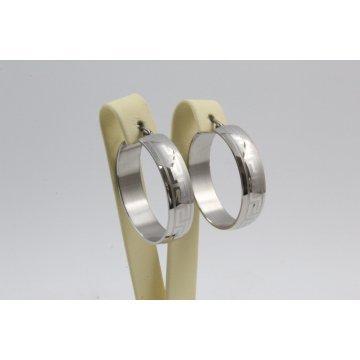 Дамски стоманени обеци халки бяла стомана 2781