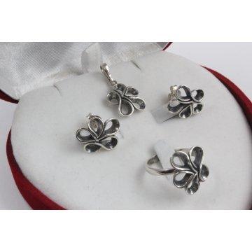 Дамски сребърен комплект тъмно сребро 2801