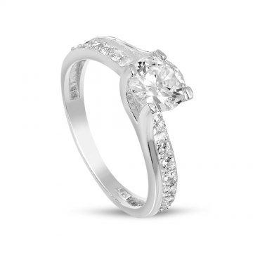 Дамски сребърен годежен пръстен с бели камъни 2802