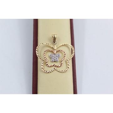Дамски златен медальон пеперуда бяло червено жалто злато 2810