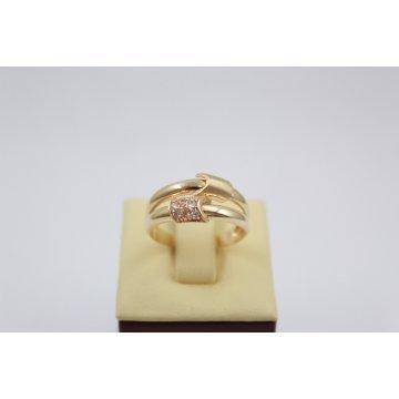 Дамски златен пръстен бели камъни жълто злато 2811