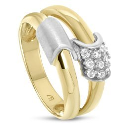 Дамски златен пръстен бели камъни жълто и бяло злато 2811
