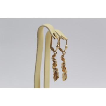 Златни дамски висящи обеци бяло жълто злато 2824