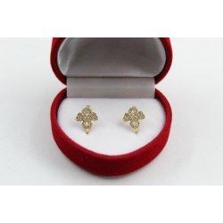 Златни дамски обеци с бели камъни 2824