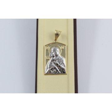 Златна Дамска Богородица бяло жълто злато 2869