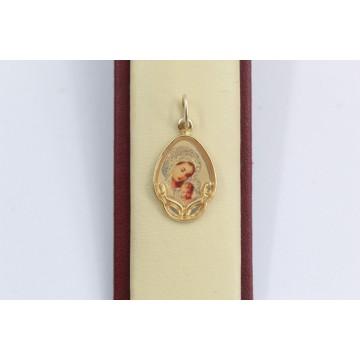 Дамски златен медальон богородица жълто злато 2873