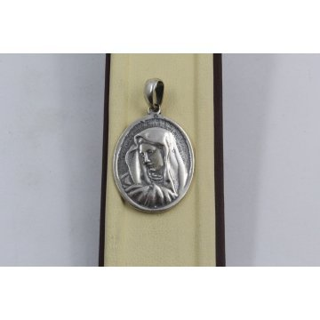 Дамски сребърен медальон Богородица тъмно сребро 2885