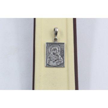 Сребърен медальон Богородица тъмно сребро 2887