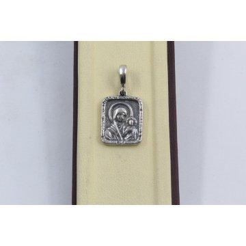 Сребърен медальон Богородица тъмно сребро 2888