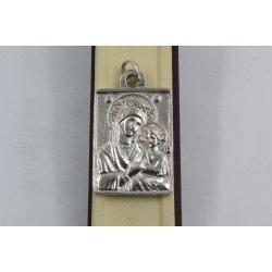 Дамски сребърен плътен медальон Богородица 2889