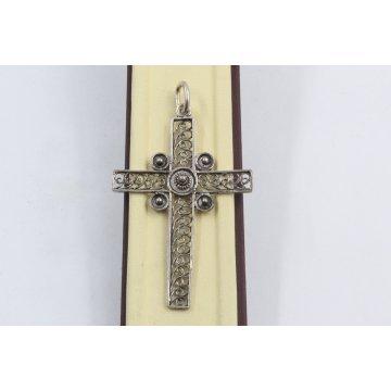 Сребърна дамска висулка кръст тъмно сребро 2896