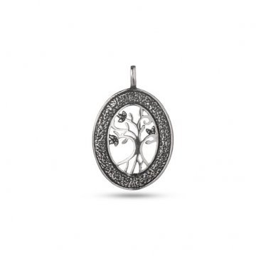 Сребърен медальон Дървото на Живота тъмно сребро 2897