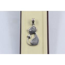 Дамски сребърен медальон котка 2913