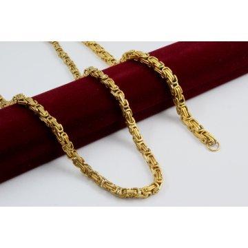 Стоманен унисекс комплект жълта стомана верижка гривна кралска плетка 2927