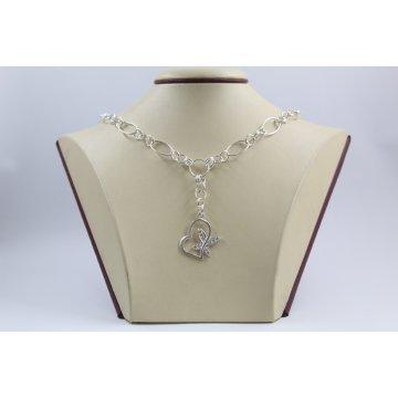 Сребърно дамско колие със сърце с бели камъни Флирт 2948
