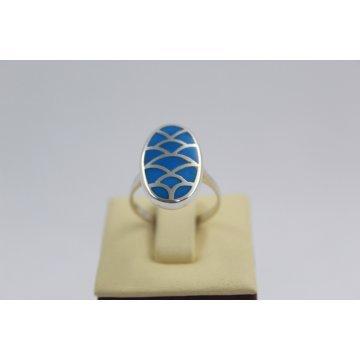 РАЗПРОДАЖБА -50% Дамски сребърен пръстен синтетичен тюркоаз 2986