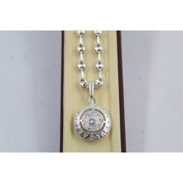 Сребърно дамско колие с кръгъл медальон с бели камъни 2989