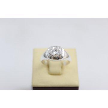 Сребърен дамски пръстен с бял камък 2991