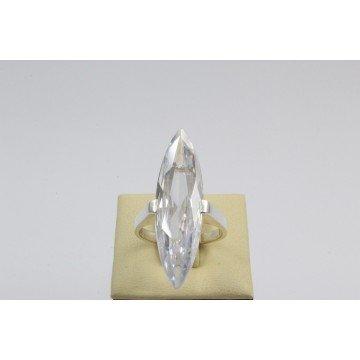 Дамски сребърен пръстен с бял камък 2993